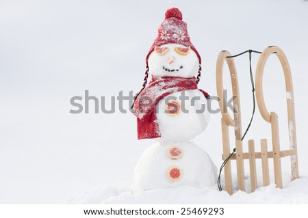 Happy snowman on winter vacation