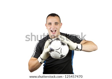 happy soccer goalkeeper ball in his hands