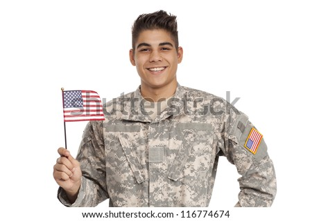 Happy soldier holding a flag