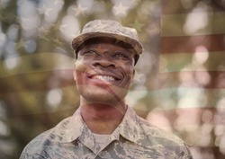happy soldier smiling overlap with usa flag
