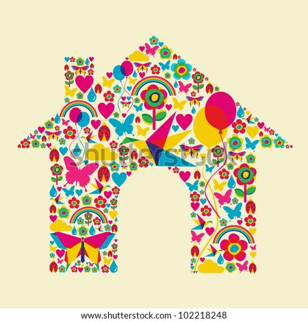 Happy spring time house composition. Vector file available.