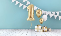 Happy 1st birthday party celebration balloon, bunting and gift box. 3D Render