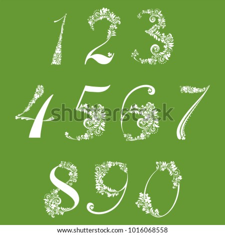 Happy St. Patrick's day. White Floral numbers set isolated on Green background.  illustration