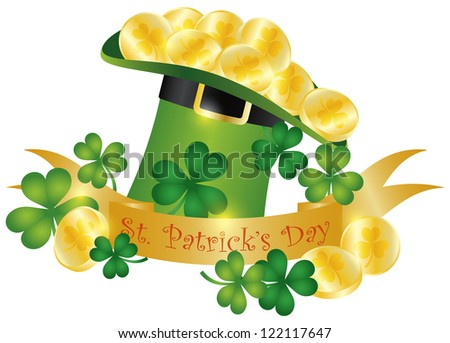 Happy St Patricks Day Banner with Leprechaun Hat Gold Coins and Shamrock Leaves Illustration Raster Vector - stock photo