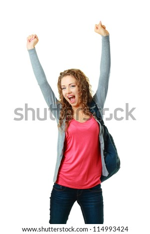 happy student girl raising her hands showing success