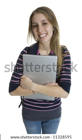 Happy student holding a laptop.
