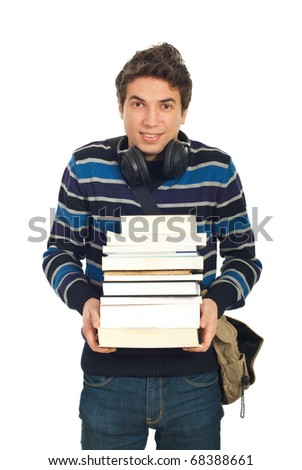Happy student male carrying pile of books and smiling isolated on white background