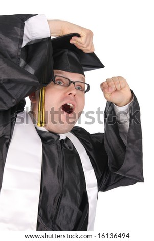 Happy student on the ending of his education process (graduation)