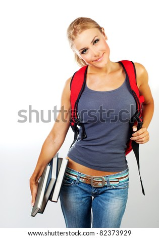 Happy student, schoolgirl holding books, isolated on white background, education concept