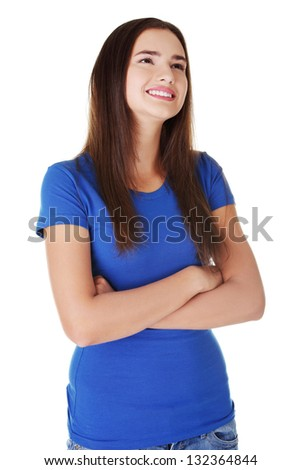 Happy student woman , isoalted on white background - stock photo
