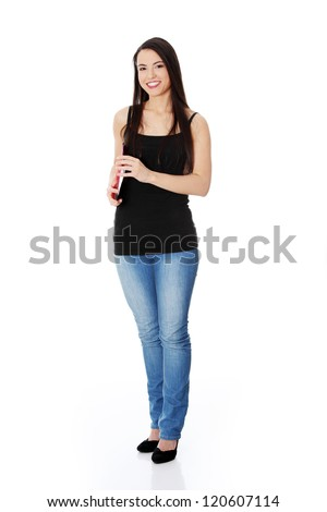 Happy student woman with notebooks, isoalted on white background