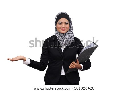 Happy successful business muslim woman. Isolated over white background