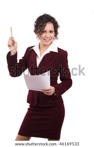 Happy successful business woman is holding documents and pen. Young business girl with paper. Isolated over white background.