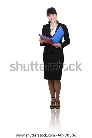 Happy successful business woman is holding folders . Young business girl with documents.