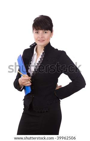 Happy successful business woman is holding folders . Young business girl with documents. Isolated over white background.