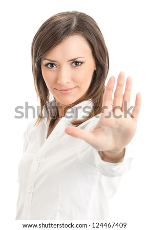 Happy successful gesturing businesswoman, isolated on white background