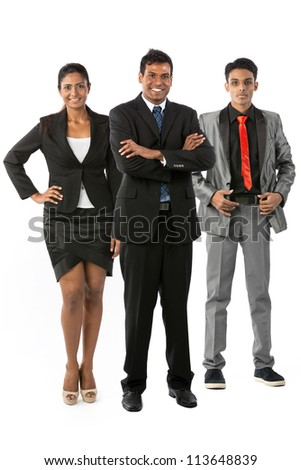 Happy & successful Indian business team. Isolated on a white background.