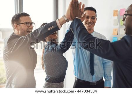 happy successful multiracial...