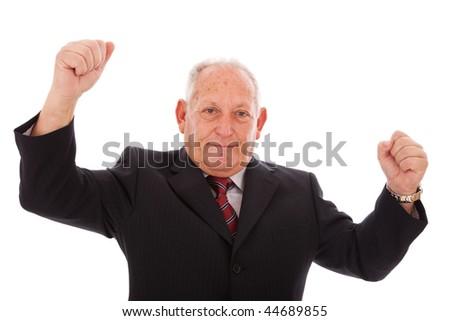 happy successful senior businessman (isolated on white)