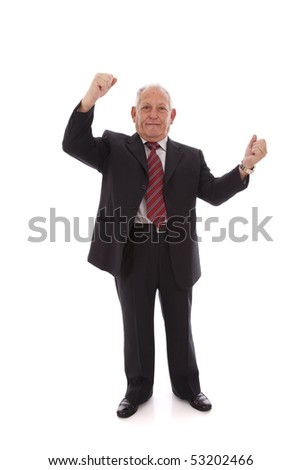 happy successful senior businessman (isolated on white)