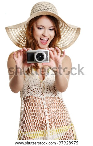 Happy summer woman making photos, isolated on white