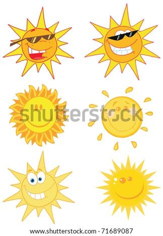 Happy Sun Mascot Cartoon Characters Set 1