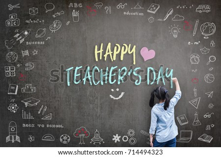 Happy Teacher's Day greeting card for World teachers day concept with school student back view drawing doodle of of learning education graphic freehand illustration icon on black chalkboard #714494323
