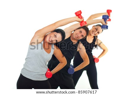 Happy team of three people workout with dumbbell and stretching