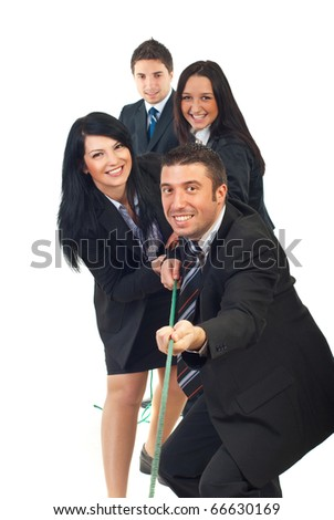 Happy team pulling rope and having fun isolated on white background