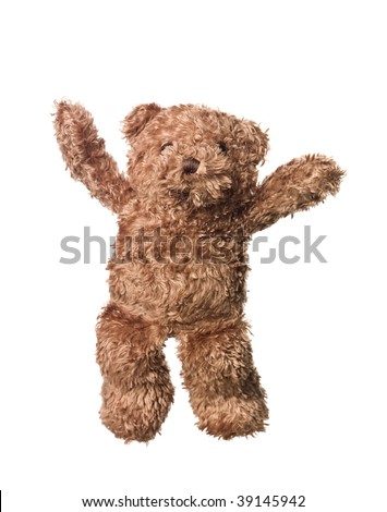 Happy Teddy Bear isolated on white background