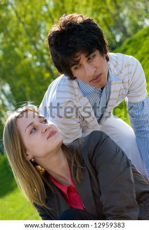 stock photo happy teen couple flirting in the park 12959383 Celebrity Porn Fakes