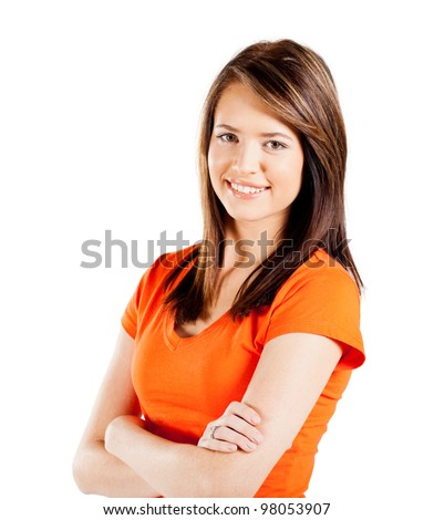 happy teen girl half length portrait isolated on white background