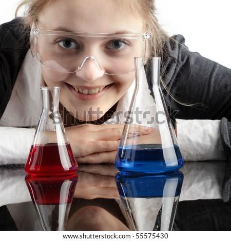 happy teen study chemistry