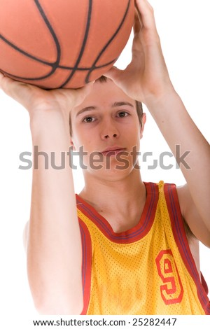 happy teen with basketball. over white background