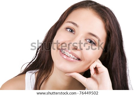 stock photo happy teen with braces 76449502 She was crowned by Chelsea Chelsea Morgensen, Miss Texas Teen USA 2010 ...