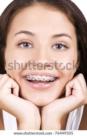 Happy teen with  braces