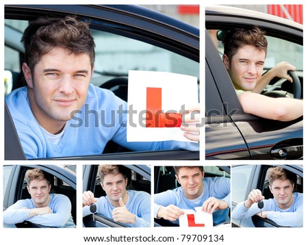 Happy teenage boy showing holding a modern car key and a learner plate while sitting behind the wheel