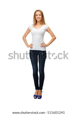 happy teenage girl in blank white t-shirt
