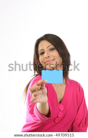 happy teenage girl with blank card - stock photo