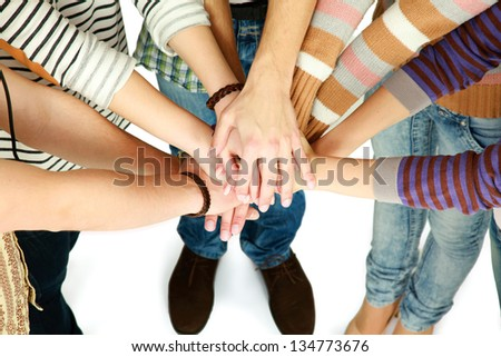 Happy Teenage Group with Hands
