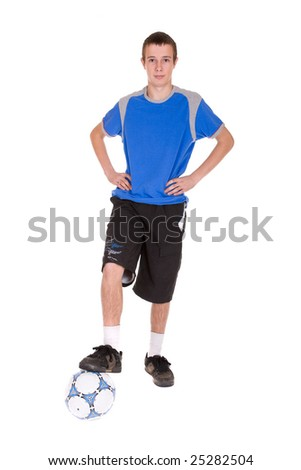 happy teenager playing football. over white background