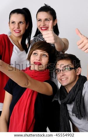 happy teenagers showing ok