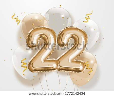 Happy 22th birthday gold foil balloon greeting background. 22 years anniversary logo template- 22th celebrating with confetti.'Illustration 3D' Сток-фото ©