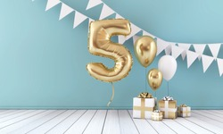 Happy 5th birthday party celebration balloon, bunting and gift box. 3D Render