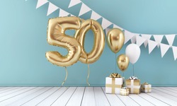 Happy 50th birthday party celebration balloon, bunting and gift box. 3D Render