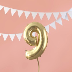 Happy 9th birthday party celebration gold balloon and bunting. 3D Render