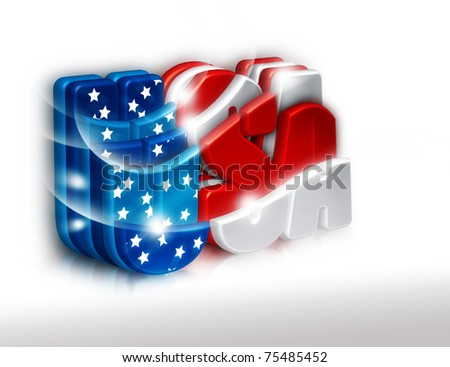 Happy 4th July greeting card. Isolated USA 3d letters. - stock photo