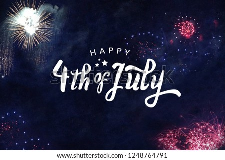 Happy 4th of July Typography with Fireworks in Night Sky #1248764791