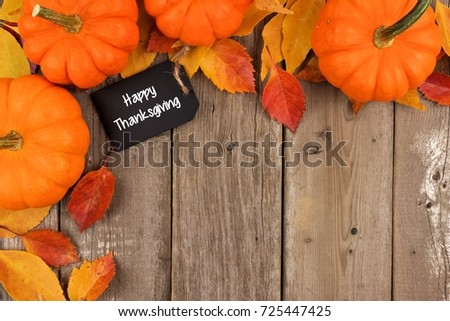 Happy Thanksgiving Chalkboard Gift Tag With Corner Border Of Pumpkins And Leaves Over A Rustic Wood