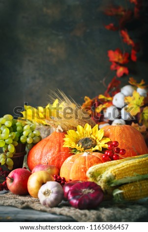 Happy Thanksgiving Day background, wooden table decorated with Pumpkins, Maize, fruits and autumn leaves. Harvest festival. Selective focus. Vertical. Background with copy space. #1165086457
